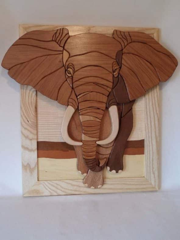 Wooden intarsia african elephant wall art home decor African elephant home decor